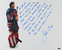 "Jim Craig Signed Team USA ""Miracle on Ice"" 16x20 Photo with Extensive Story Inscription (Steiner Hologram) at PristineAuction.com"