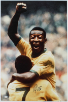 Pele Signed Team Brazil 25x35 Print on Canvas (JSA COA) at PristineAuction.com