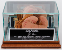"Joe Louis Signed Mini Boxing Gloves Inscribed ""Best Wishes"" with Display Case (JSA LOA) at PristineAuction.com"