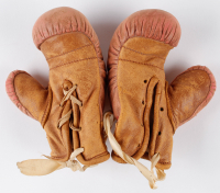 """Joe Louis Signed Mini Boxing Gloves Inscribed """"Best Wishes"""" with Display Case (JSA LOA) at PristineAuction.com"""