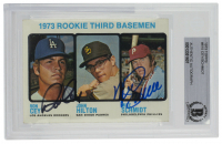 Mike Schmidt & Ron Cey Signed 1973 Topps #615 Rookie Third Basemen / Ron Cey / John Hilton RC / Mike Schmidt RC (BGS Encapsulated) at PristineAuction.com