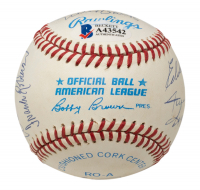 500 Run Club OAL Baseball with Display Case Signed by (10) with Mickey Mantle, Ernie Banks, Hank Aaron, Reggie Jackson, Harmon Killebrew, Willie Mays (Beckett COA) at PristineAuction.com