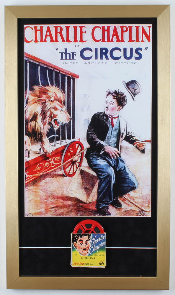 """Charlie Chaplin """"The Circus"""" 15x26 Custom Framed Print Display with 8mm Film Reel at PristineAuction.com"""