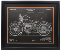 Harley Davidson Motorcycle Chalk Patent 16x20 Custom Framed Photo at PristineAuction.com