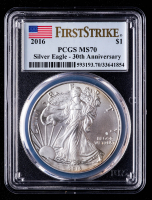 2016 American Silver Eagle $1 One Dollar Coin - First Strike, 30th Anniversary (PCGS MS70) at PristineAuction.com