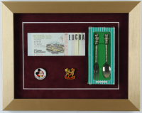Tokyo Disneyland 11x14 Custom Framed Display with Vintage Ticket Book, Souvenir Spoon & Fork Set and (2) Tokyo Disneyland Lapel Pins at PristineAuction.com