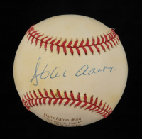Hank Aaron Signed LE ONL Career Stat Engraved Baseball (PSA COA) at PristineAuction.com
