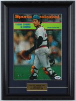 "Carlton ""Pudge"" Fisk Signed Red Sox 12x16 Custom Framed ""Sports Illustrated"" Magazine Cover Display (PSA COA) (See Description) at PristineAuction.com"