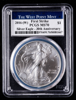 2016-W American Silver Eagle $1 One Dollar Coin - First Strike, 30th Anniversary (PCGS MS70) at PristineAuction.com