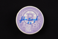 """John Bucyk Signed Bruins """"Hockey Fights Cancer"""" Logo Hockey Puck Inscribed """"H.O.F. 1981"""" (YSMS Hologram) at PristineAuction.com"""