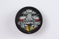 Corey Crawford Signed 2015 Stanley Cup Champions Logo Hockey Puck (YSMS Hologram) at PristineAuction.com