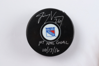 """Jimmy Vesey Signed Rangers Logo Hockey Puck Inscribed """"1st NHL Goal 10/17/16"""" (Vesey COA & YSMS Hologram) at PristineAuction.com"""