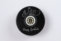 """Brad Marchand Signed Bruins Logo Hockey Puck Inscribed """"Happy Birthday"""" (Marchand COA & YSMS Hologram) at PristineAuction.com"""