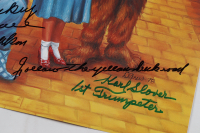 """""""The Wizard Of Oz"""" 11x14.25 Photo Cast-Signed by (3) with Mickey Carroll, Jerry Maren, Karl Slover Inscribed """"1st Trumpeter"""", """"Follow The Yellow Brick Road"""", """"Munchkin Love"""" (JSA COA) at PristineAuction.com"""