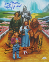 """The Wizard Of Oz"" 11x14.25 Photo Cast-Signed by (3) with Mickey Carroll, Jerry Maren, & Karl Slover Inscribed ""1st Trumpeter"", ""Follow The Yellow Brick Road"", ""Munchkin Love"" (JSA COA) at PristineAuction.com"