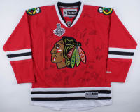 2014-15 Blackhawks Jersey Team-Signed by (28) with Patrick Kane, Jonathan Toews, Joel Quenneville, Corey Crawford, Patrick Sharp (Beckett LOA) at PristineAuction.com