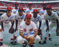 Reds 16x20 Photo Team-Signed by (8) with Pete Rose, Johnny Bench, Joe Morgan, George Foster, Tony Perez (AIV COA) at PristineAuction.com