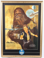 """Star Wars"" Coca-Cola Promotional 22x30 Custom Framed Poster Display with 1977 Original ""May the Force Be With You"" Lapel Pin at PristineAuction.com"