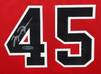 Michael Jordan Signed 26x35 Custom Framed Jersey Display (UDA COA) at PristineAuction.com