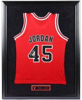 Michael Jordan Signed 26x35 Custom Framed Jersey Display (UDA COA) at PristineAuction.com
