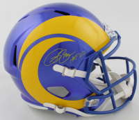 "Isaac Bruce Signed Rams Full-Size Speed Helmet Inscribed ""HOF 20"" (Beckett COA) at PristineAuction.com"
