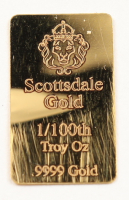 1/100 oz Scottsdale Mint Gold Bullion Bar (See Description) at PristineAuction.com