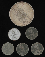 Lot of (6) with (5) 1943 Lincoln Cent (Steel) & 1922 Peace Dollar at PristineAuction.com