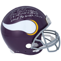 Fran Tarkenton Signed LE Vikings Full-Size Authentic On-Field Helmet with Multiple Inscriptions (Fanatics Hologram) at PristineAuction.com
