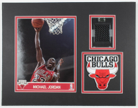 1997-1998 Michael Jordan Bulls 14x18 Custom Matted Game-Used Jersey Piece Display with Patch at PristineAuction.com