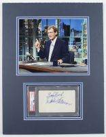 """David Letterman Signed 14x18 Custom Matted Cut Display Inscribed """"Good Luck"""" (PSA Encapsulated) at PristineAuction.com"""