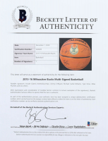 2015-16 Bucks NBA Team Logo Game Ball Series Basketball Signed By (7) With Giannis Antetokounmpo, Johnny O'Bryant, Michael Carter-Williams, Tyler Ennis (Beckett LOA) at PristineAuction.com