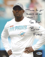"Brian Flores Signed Dolphins 8x10 Photo Inscribed ""Thank You For Supporting The Dolphins!"" & ""Go Fins!"" (Beckett COA) at PristineAuction.com"