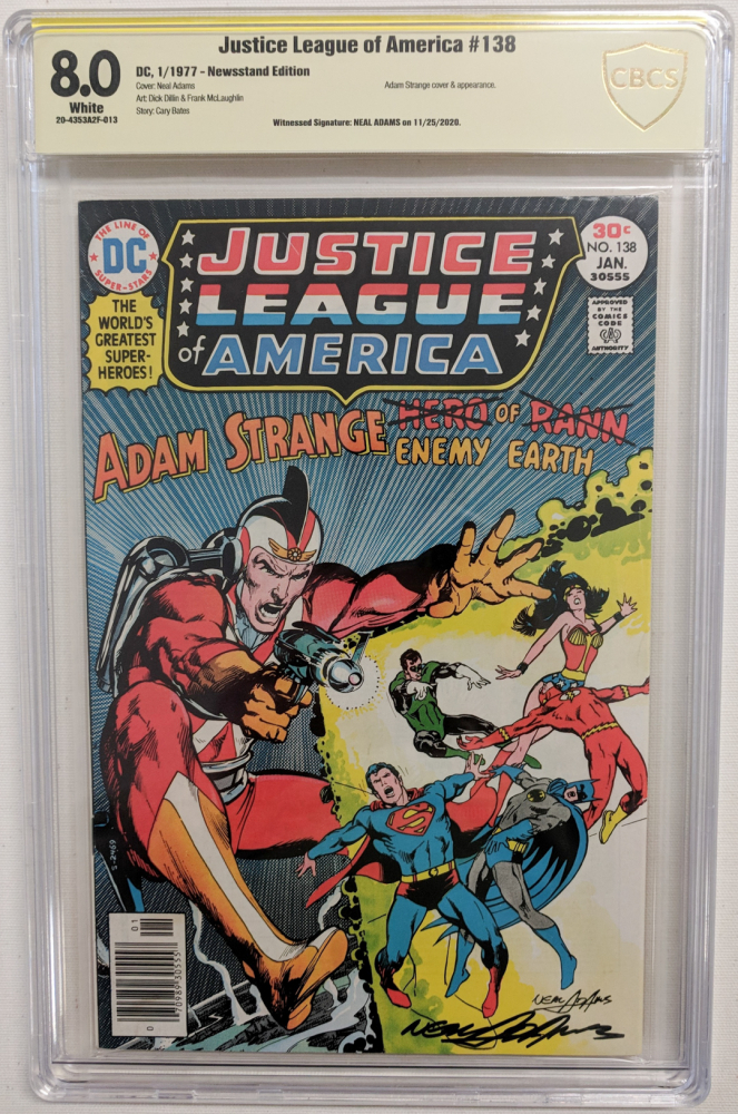 "Neal Adams Signed 1977 ""Justice League of America"" Issue #138 DC Comic Book (CBCS Encapsulated - 8.0) at PristineAuction.com"