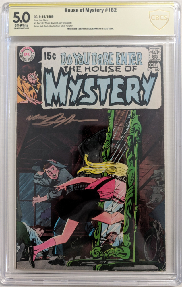 """Neal Adams Signed 1969 """"House of Mystery"""" Issue #182 DC Comic Book (CBCS Encapsulated - 5.0) at PristineAuction.com"""