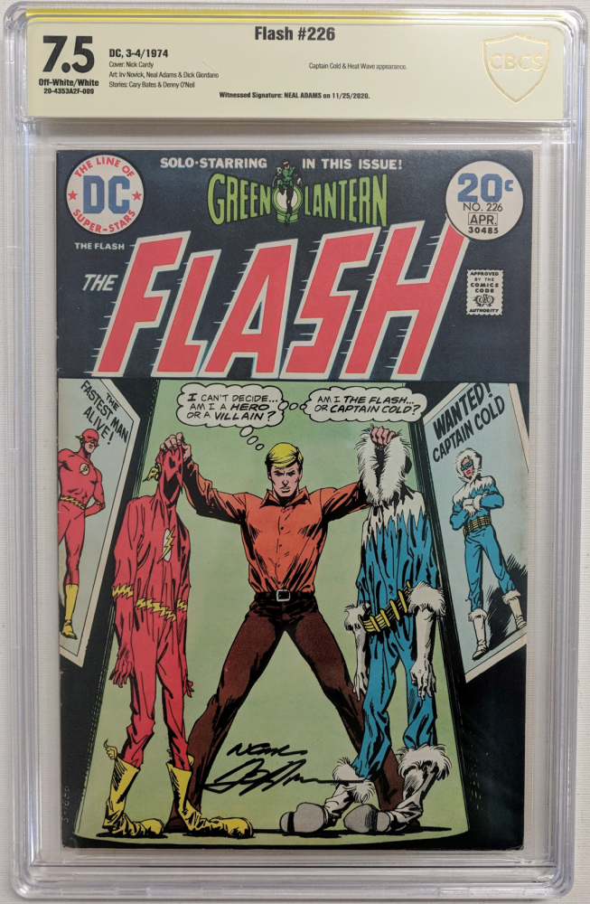 """Neal Adams Signed 1974 """"Flash"""" Issue #226 DC Comic Book (CBCS Encapsulated - 7.5) at PristineAuction.com"""