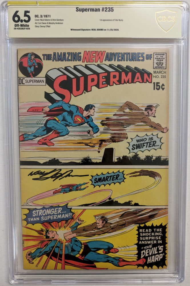 """Neal Adams Signed 1971 """"Superman"""" Issue #235 DC Comic Book (CBCS Encapsulated - 6.5) at PristineAuction.com"""