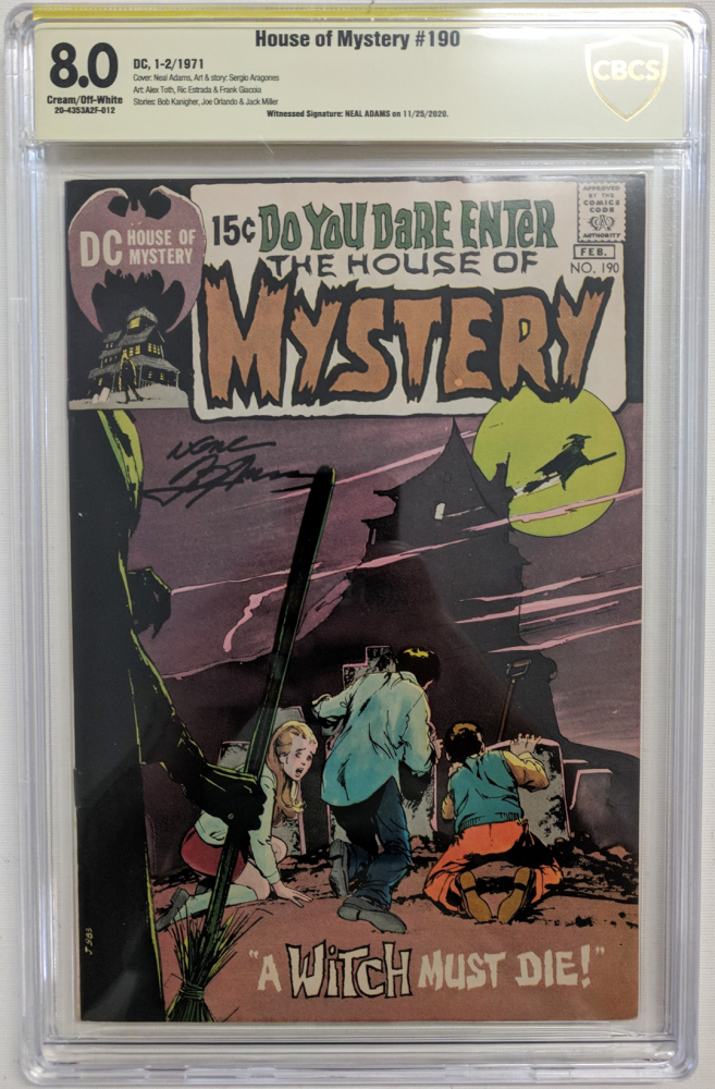 """Neal Adams Signed 1971 """"House of Mystery"""" Issue #190 DC Comic Book (CBCS Encapsulated - 8.0) at PristineAuction.com"""