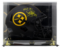 """Troy Polamalu Signed Steelers Full-Size Authentic On-Field Eclipse Alternate Speed Helmet Inscribed """"HOF 20"""" with Display Case (Beckett COA) at PristineAuction.com"""