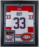 Patrick Roy Signed Canadiens 36x44 Custom Framed Jersey Display (JSA COA) at PristineAuction.com