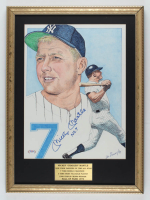 """Mickey Mantle Signed Yankees 17x23 Custom Framed Art Print Display Inscribed """"No. 7"""" (PSA LOA) at PristineAuction.com"""