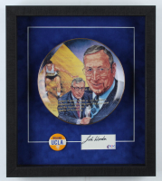 John Wooden Signed UCLA Bruins 14.5x16.5 Custom Framed Cut Display with Commemorative Plate & Vintage UCLA Lapel Pin (PSA COA) (See Description) at PristineAuction.com