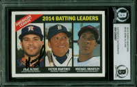 Jose Altuve Signed 2015 Topps Heritage #216 Michael Brantley / Victor Martinez (BGS Encapsulated) at PristineAuction.com
