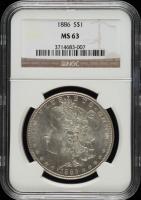 1886 Morgan Silver Dollar (NGC MS63) at PristineAuction.com