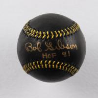 "Bob Gibson Signed LE Black Leather Baseball Inscribed ""HOF 81"" (Bob Feller Museum Hologram) at PristineAuction.com"