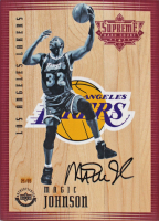 Magic Johnson Signed LE 5x7 Lakers Floor Piece (Beckett LOA) at PristineAuction.com