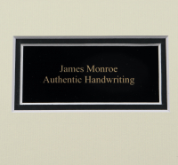 James Monroe 16x20 Custom Matted Cut Display with (1) Hand-Written Word from Letter (Beckett LOA) at PristineAuction.com