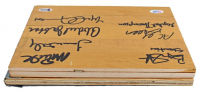 Lakers Showtime 7.5x10 Hard Wood Floorboard Piece Signed By (7) With Magic Johnson, Kareem Abdul-Jabbar, AC Green, James Worthy (Beckett Hologram & PSA COA) at PristineAuction.com