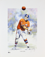 "John Elway Signed LE Broncos ""Catch This"" 16x20 Lithograph (Beckett COA) at PristineAuction.com"