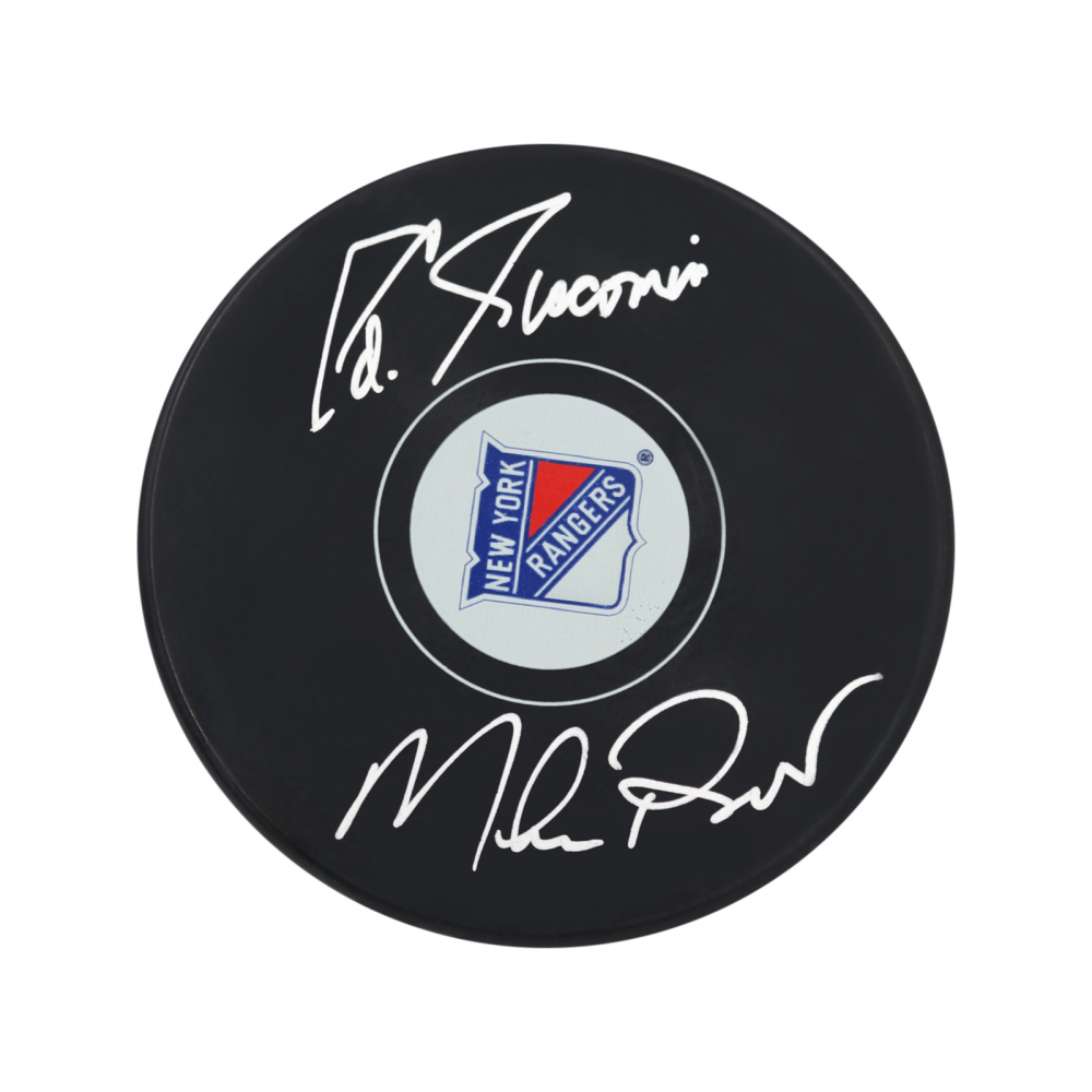 Mike Richter & Eddie Giacomin Signed Rangers Logo Hockey Puck (Steiner Hologram) at PristineAuction.com