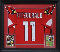 Larry Fitzgerald Signed 32x37 Custom Framed Jersey Display (PSA COA) at PristineAuction.com